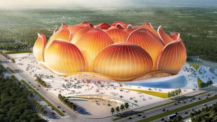 Desain stadion Guangzhou Evergrande yang baru berbentuk bunga lotus.