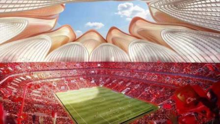Desain stadion Guangzhou Evergrande di area dalam.