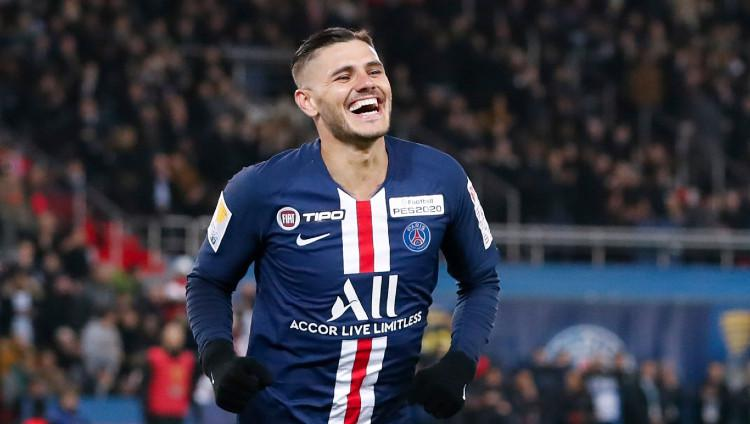 Striker Inter Milan yang dipinjamkan ke Paris Saint-Germain (PSG) Mauro Icardi. Copyright: Catherine Steenkeste/Getty Images