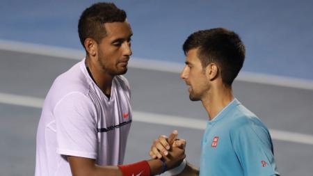 Nick Kyrgios dan Novak Djokovic dalam turnamen tenis di Meksiko. - INDOSPORT