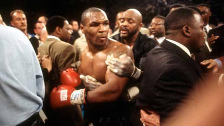 Akibatnya, Mike Tyson dikeluarkan dari arena dan didiskualifikasi oleh WBA.