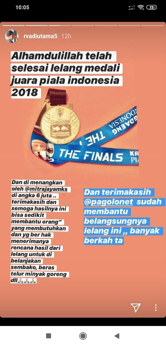 Nekat Lelang Medali Juara, Eks PSM Makassar Kantongi Jutaan Rupiah Copyright: instagram.com/rvadiutama5