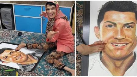 Fatemeh Hammami, seniman Iran penggemar berat Cristiano Ronaldo. - INDOSPORT