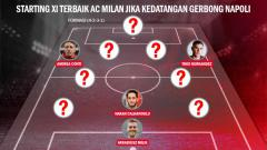 Indosport - Menakar Starting XI Terbaik AC Milan jika kedatangan gerbong Napoli.