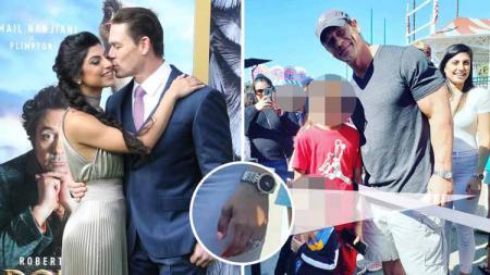 John Cena dan pacar Shay Shariatzadeh dengan cicin berlian di jarinya. - INDOSPORT