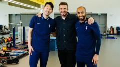 Indosport - David Beckham berfoto bareng dua bintang Tottenham Hotspur, Son Heung-min dan Lucas Moura.