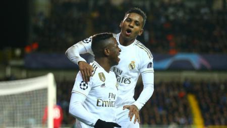 Dua bintang muda asal Brasil milik klub LaLiga Spanyol, Real Madrid, Vinicius Jr (kiri) dan Rodrygo. - INDOSPORT