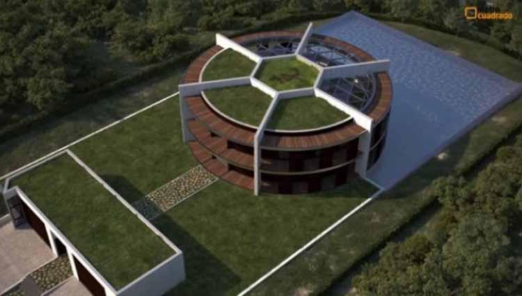 Lionel Messi sedang membangun rumah yang berbentuk seperti bola. Copyright: joe.ie