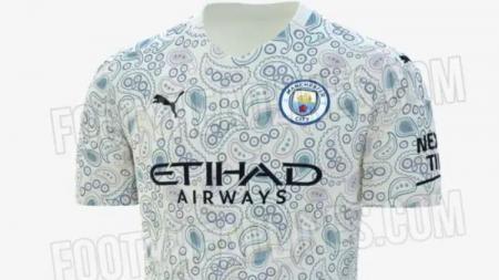 Jersey ketiga Manchester City yang tampak seperti motif bakteri. - INDOSPORT