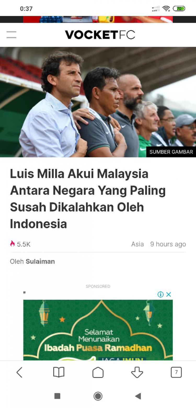 Media Asing Sesumbar Luis Milla Takut Bila Bersua Timnas Malaysia Copyright: vocketfc
