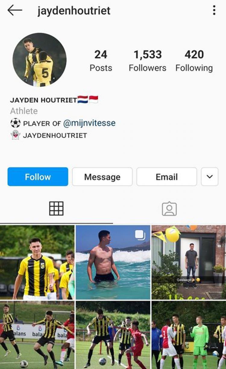 Akun Instagram Jayden Houtriet, Pemain Keturunan Indonesia di Vitesse Copyright: https://www.instagram.com/jaydenhoutriet/