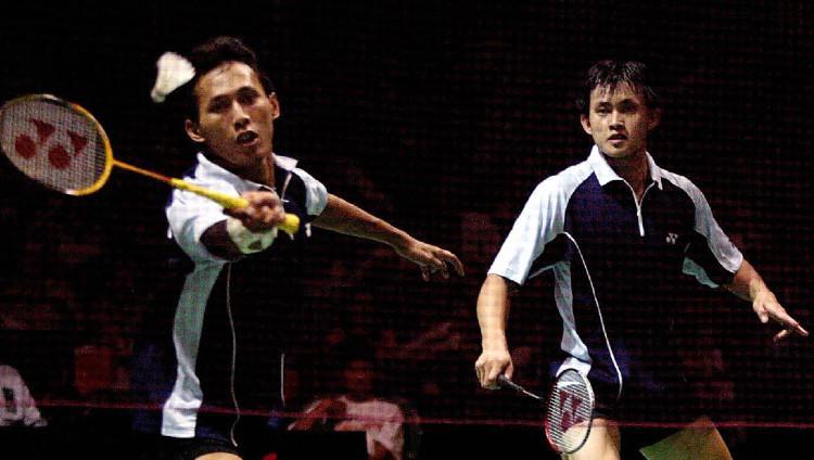 Legenda pebulutangkis ganda putra Indonesia Candra Wijaya/Sigit Budiarto di IBF World Championship, 3 Agustus 2003. Copyright: Nicolas Asfouri/AFP via Getty Images