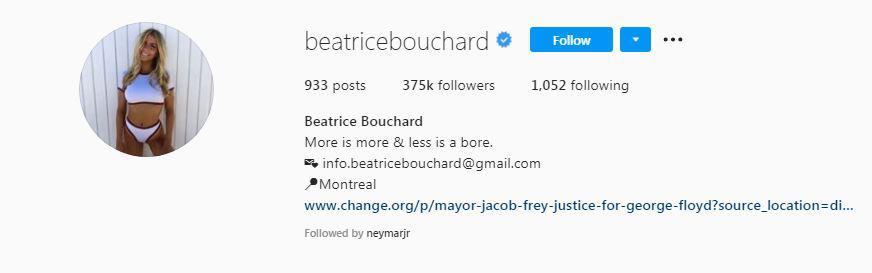 Kembaran Eugenie Bouchard, Beatrice di Follow Neymar Copyright: Instagram @beatricebouchard