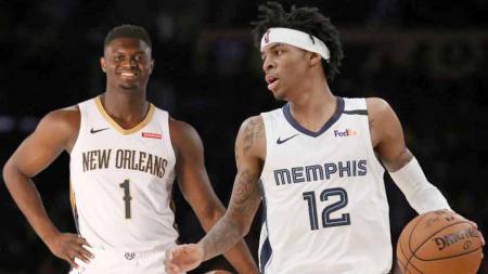 Meningkatnya performa New Orleans Pelicans dan Memphis Grizzlies, membuat nama Zion Williamson dan Ja Morant mencuat jadi kandidat Rookie of the Year NBA. - INDOSPORT