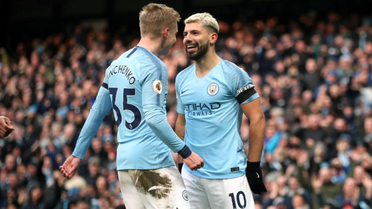 Oleksandr Zinchenko dan Sergio Aguero Copyright: Nick Potts/PA Images via Getty Images