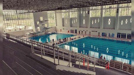 Venue Aquatic yang akan digunakan sebagai arena pertandingan cabang olahraga renang di ajang Pekan Olahraga Nasional (PON) XX di Papua tinggal tahap finishing. - INDOSPORT