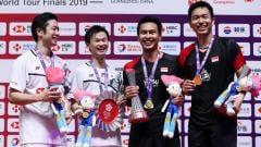 Indosport - Pebulutangkis Mohammad Ahsan memberikan responsnya pada saat ditanyai kenapa lebih sering mengalahkan wakil Jepang ketimbang Kevin Sanjaya/Marcus Gideon.
