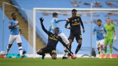 Indosport - Suasana pertandingan Liga Inggris 2019-2020 antara Manchester City vs Arsenal, Kamis (18/06/20) dini hari WIB.