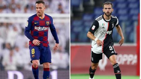 Gelandang Barcelona, Arthur Melo, dan pemain Juventus, Miralem Pjanic - INDOSPORT