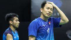 Indosport - Hendra Setiawan/Pramudya Kusumawardana Riyanto di Mola TV PBSI Home Tournament.