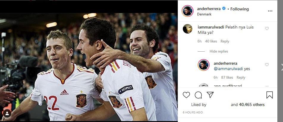 Eks pemain Manchester United, Ander Herrera, menjawab pertanyaan netizen soal Luis Milla. Copyright: Instagram @anderherrera