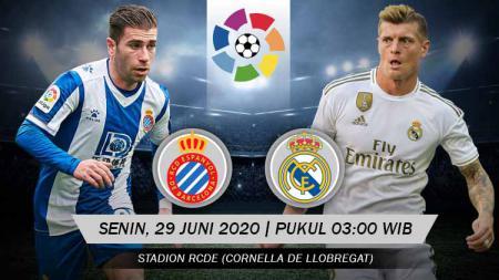 Berikut link live streaming pertandingan LaLiga Spanyol antara Espanyol vs Real Madrid. - INDOSPORT