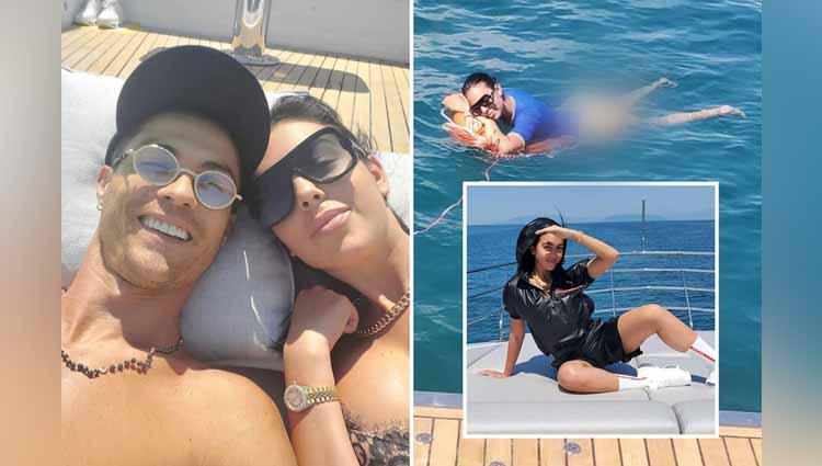 Cristiano Ronaldo dan Georgina Rodriguez saat berlibur diatas kapal pesiarnya. Copyright: thesun.co.uk