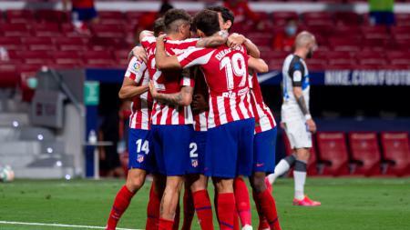 Saul Niguez merayakan golnya di laga Atletico Madrid vs Deportivo Alaves - INDOSPORT