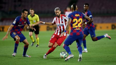 Hasil pertandingan pentas LaLiga Spanyol 2019-20 antara Barcelona vs Atletico Madrid berkesudahan dengan skor 2-2, Rabu (01/07/20) dini hari WIB. - INDOSPORT