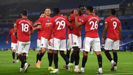 Selebrasi para pemain Manchester United usai merayakan gol ke gawang Brighton.