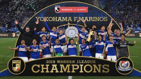 Momen perayaan Yokohama F Marinos saat berhasil menjuarai J-League 2019 lalu. - INDOSPORT