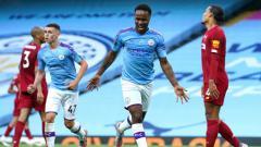 Indosport - Selebrasi gol Raheem Sterling di laga pekan ke-32 Liga Inggris Manchester City vs Liverpool.
