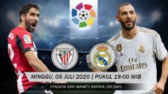 Indosport - Berikut link live streaming pertandingan antara Athletic Bilbao vs Real Madrid di pekan ke-34 LaLiga Spanyol, Minggu (05/07/20) pukul 19.00 WIB.