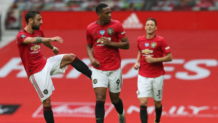 Selebrasi gol Anthony Martial di laga Liga Inggris Manchester United vs Bournemouth. Copyright: Matthew Peters/Manchester United via Getty Images