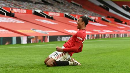 Mason Greenwood mencetak gol di laga Manchester United vs West Ham United. - INDOSPORT