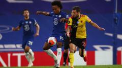 Indosport - Aksi Wiliian di laga pekan ke-33 Liga Inggris Chelsea vs Watford.