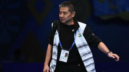 Eks pelatih Taufik Hidayat, Mulyo Handoyo saat melatih tunggal putra India di tahun 2017 - INDOSPORT