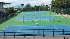 Indosport - Venue Cabang Olahraga Tenis PON XX Papua yang berstandar internasional.