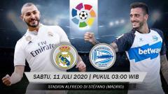 Indosport - Berikut prediksi pertandingan Real Madrid vs Deortivo Alaves di pekan ke-35 Laliga Spanyol 2019/20, Sabtu (11/07/20).
