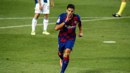 Luis Suarez mencetak gol pada menit ke-56 di laga Barcelona vs Espanyol dalam lanjutan LaLiga 2019/20.