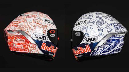 Helm baru Marc Marquez dan Alex Marquez. - INDOSPORT