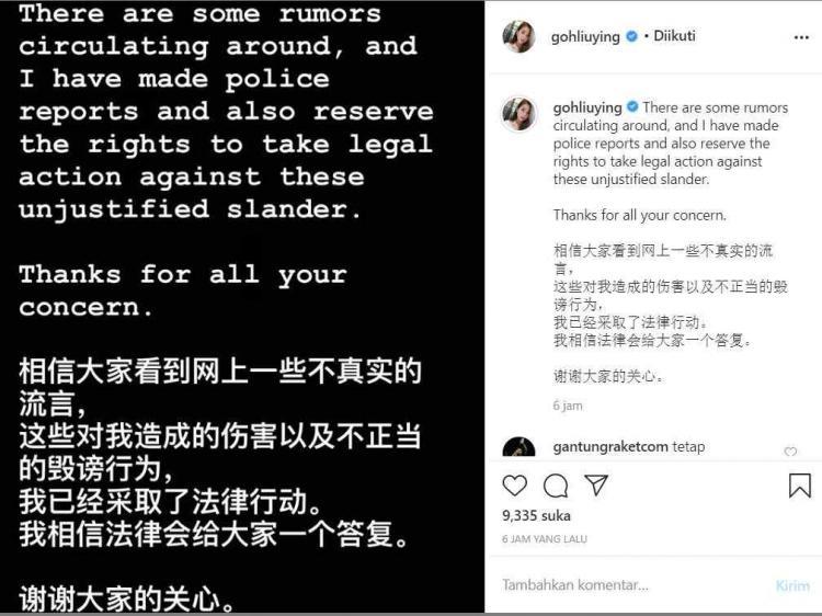 Unggahan pebulutangkis Malaysia, Goh Liu Ying, soal rumor tak sedap yang menimpa dirinya. Copyright: Instagram/Goh Liu Ying