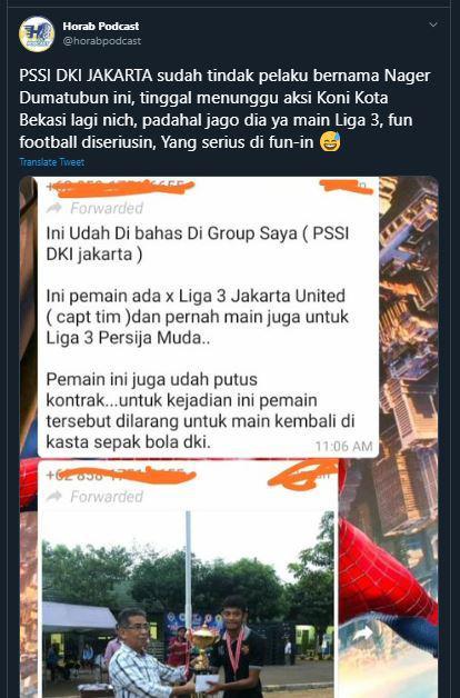 Kasus Pemain Injak  Kepala Wasit di Bekasi Copyright: https://twitter.com/horabpodcast