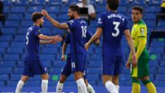 Indosport - Selebrasi para pemain Chelsea usai mencetak gol ke gawang Norwich City