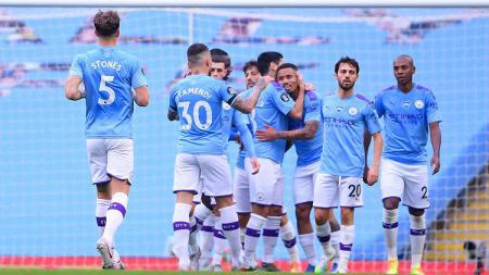 Selebrasi gol Manchester City dalam pertandingan lanjutan Liga Inggris kontra Bournemouth, Rabu (15/7/20). - INDOSPORT