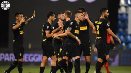 Selebrasi pemain Inter Milan saat melawan SPAL di pekan ke-33 Liga Italia Serie A 2019/20, Jumat(17/07/20). - INDOSPORT