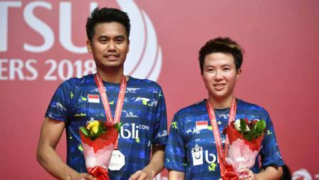Peraih medali perak Tontowi Ahmad dan Liliyana Natsir, Daihatsu Indonesia Masters 2018.