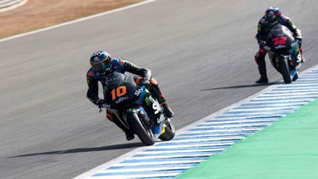 Pembalap Sky Racing Team VR46, Luca Marini, mengawali balapan Moto2 Catalunya dari posisi start pertama dan menjadi juara. - INDOSPORT