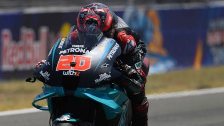 Pembalap Petronas Yamaha SRT, Fabio Quartararo, keluar sebagai juara MotoGP Spanyol 2020. - INDOSPORT