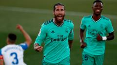 Indosport - Selebrasi Sergio Ramos dalam pertandingan pamungkas LaLiga 2019-2020 kontra Leganes, Minggu (19/7/20).